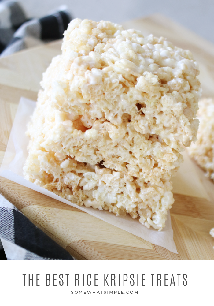 A classic recipe gets made with one secret ingredient that keeps them soft and chewy but not too sticky! These are made using marshmallow cream and are absolutely the best Rice Krispie Treats you'll EVER eat! #softricekrispietreats #bestricekrispietreats #marshmallowcreamricekrispietreats #ricekrispietreatidea #howtomakesoftricekrispietreats via @somewhatsimple