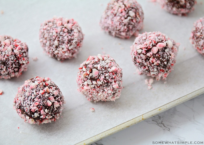 chocolate candy cane protein truffles on a tray