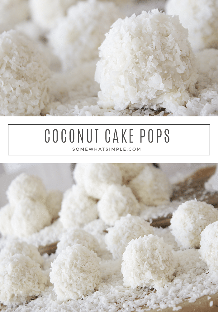 Coconut Cake Pops are tasty little treats that are simple to make! They're a fun and festive dessert that will totally please a crowd! #cakepop #cakeballs #coconut #snowballs #treats #abominable #everest via @somewhatsimple