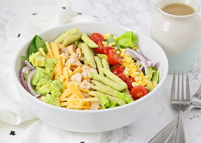 This delicious grilled chicken salad is loaded with tasty ingredients, and so easy to make! It's perfect for a quick lunch or light dinner!