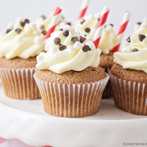 a tray of hot chocolate cupcakes