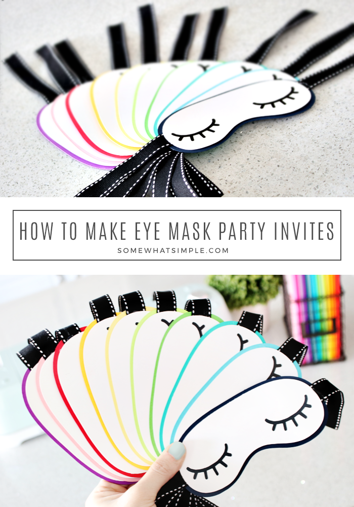 Start you pajama party off right with these darling Sleep Mask Party Invitations! These invites are so creative and cute, your guests will never guess that they take just minutes to make! #pajamaparty #invitations #birthday #littlegirl #girlsbirthday #birthdayinvitations via @somewhatsimple
