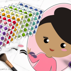 pamper me pajama party printables - bingo cards and pin the makeup on the girl