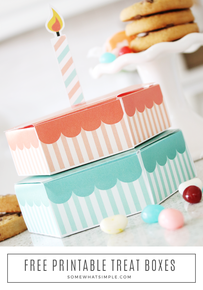 Make your own paper treat box using cardstock, tape, and our creative free printable! Wrapping up your treats has never looked so sweet! #treat #box #creativewrap #papercraft #treatbox #paperbox via @somewhatsimple