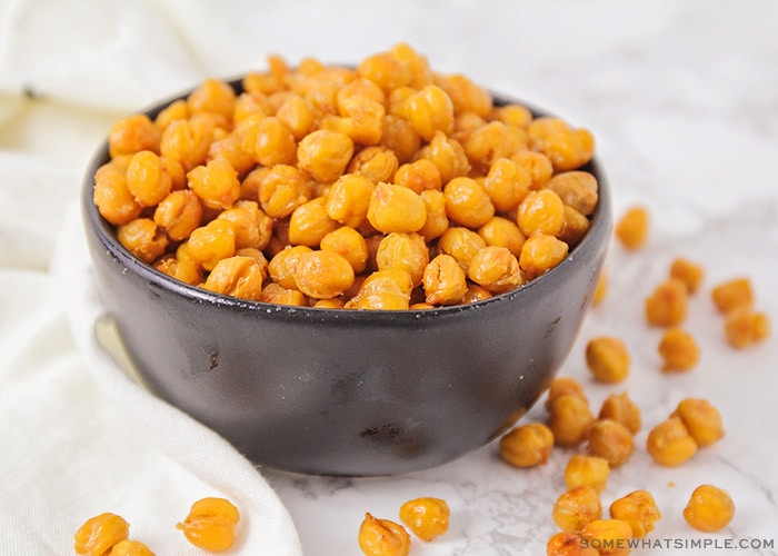 a bowl of roasted salt and vinegar chickpeas