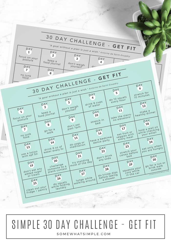 Get fit without getting overwhelmed! Our 30-day health and fitness challenge will help you improve your well-being in just a few minutes each day! Download and print our challenge calendar and get started today! #fitness #challenge #calendar #30day via @somewhatsimple
