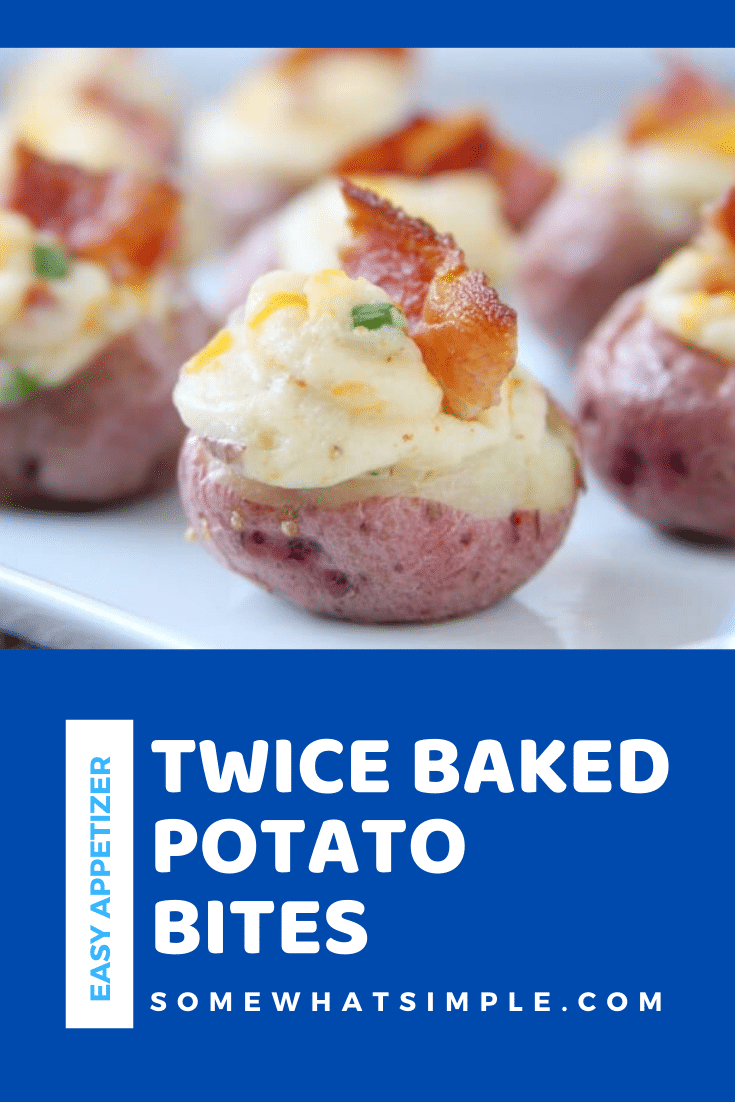 Twice Baked Potato Bites are a fun spin on an old classic. Made with mini potatoes and stuffed with a delicious filling, these make a delicious appetizer that are sure to impress your friends! #potatoappetizerrecipe #bakedpotatobites #twicebakedpotatobites #homemadepotatobites #potatobitesappetizer #easyappetizer via @somewhatsimple