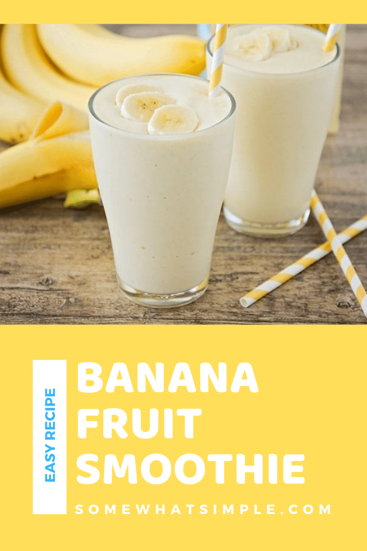 This tropical banana smoothie recipe uses only three ingredients, and is ready in under five minutes. Made with fresh fruit, it's super delicious and perfect for an easy breakfast or quick snack! #smoothies #smoothierecipes #bananasmoothie #healthyrecipes #easyrecipe via @somewhatsimple