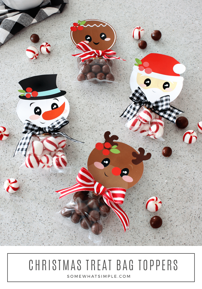 These Christmas treat bag toppers are a simple way to spread some Christmas cheer!  Just fill your treat bags with your favorite candy, cookie or other treat and hand them out this holiday season. #christmasgiftidea #christmastreatbagprintable #treatbagtopperpintable #snowmantreatbagtopper #gingerbreadmantreatbagtopper via @somewhatsimple