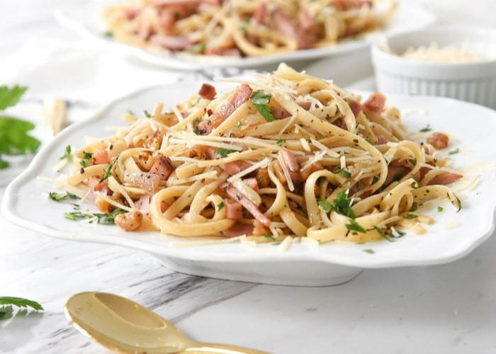 a bowl of pasta made with leftover ham