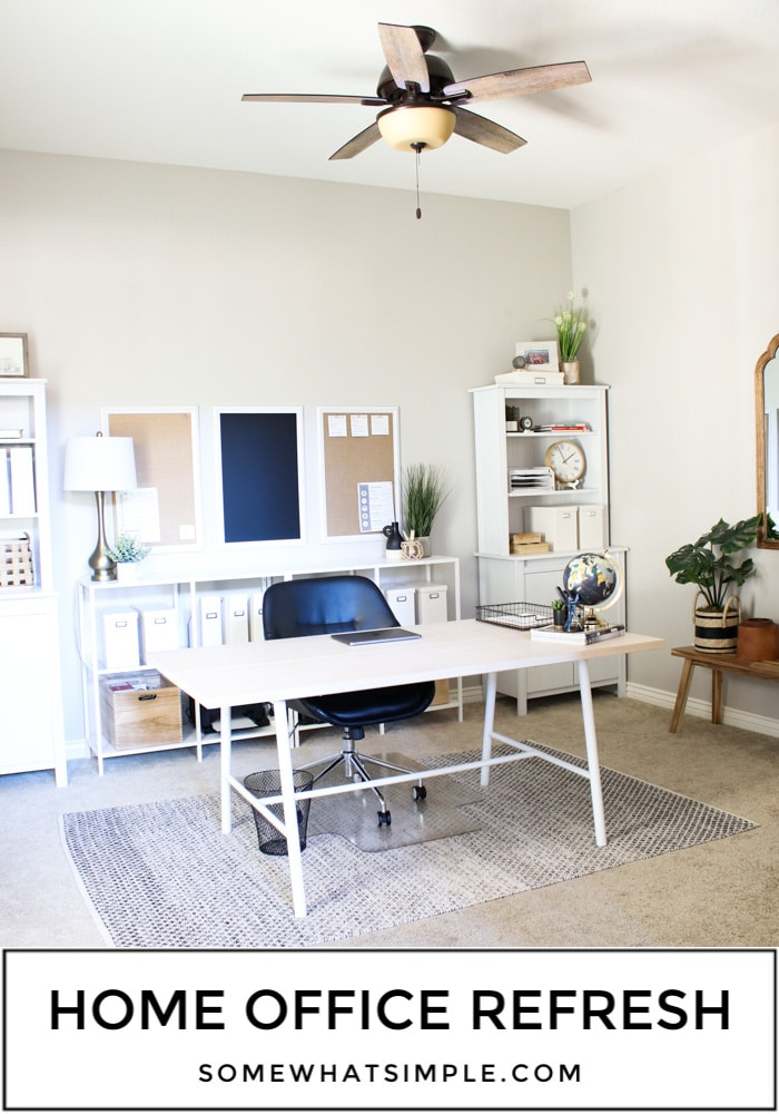 Our home office decor got a much-needed refresh to maximize space and creativity! A brand new layout and simple pieces of decor took this space from clutter and chaos to fresh and functional! #homeofficedecoronabudget #homeofficedecorideas #homeofficedecorideasformen #homeofficedecor #farmhousehomeofficedecor via @somewhatsimple