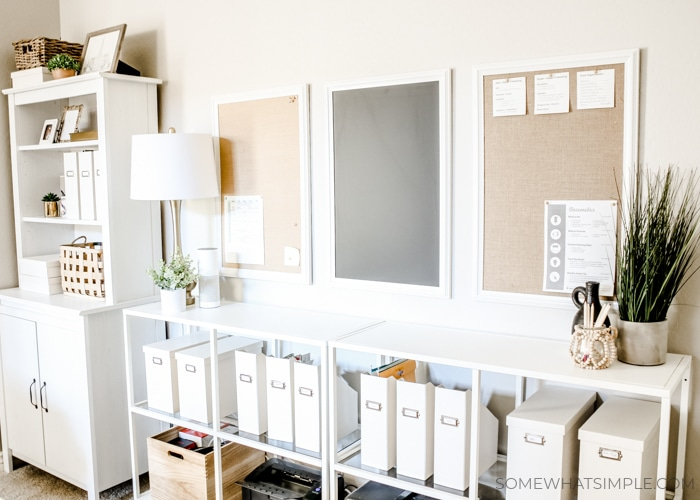 shelves with filing and organization folders and trays