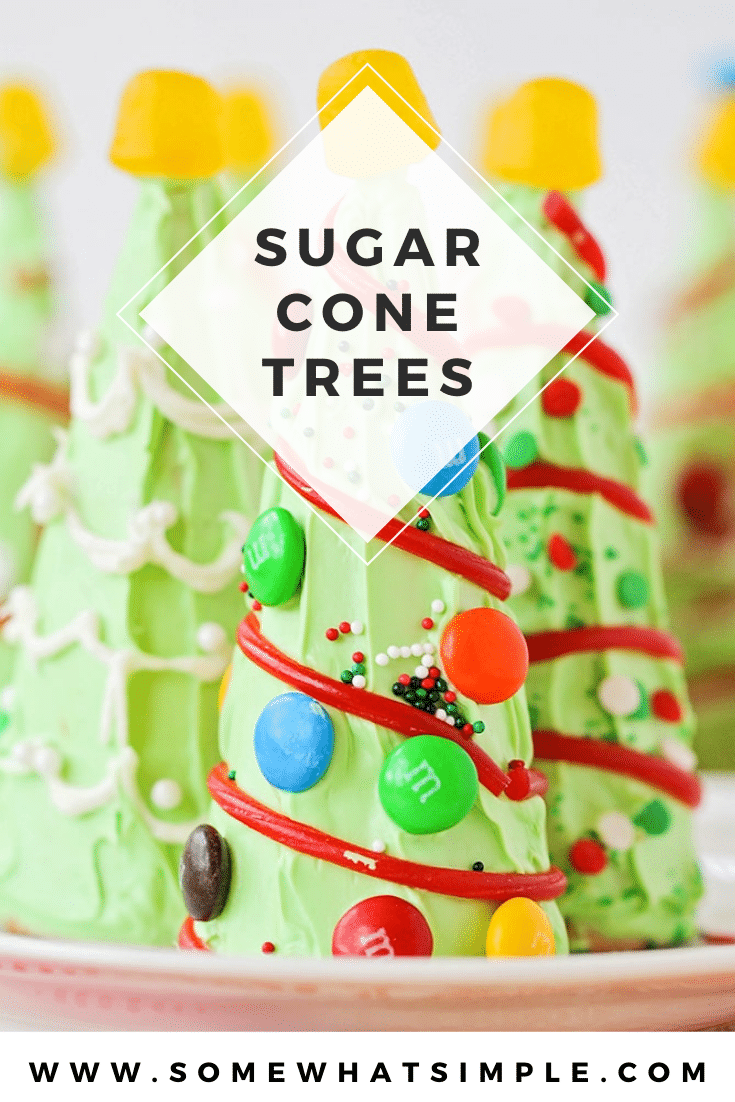 Are you looking for some Christmas treats to make with the kids this holiday season? These sugar cone Christmas trees are so fun and easy to put together, they're perfect for everyone! They're fun to make and even more fun to eat! via @somewhatsimple