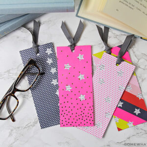 DIY Bookmarks with cardstock and ribbon