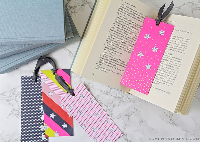 DIY Bookmarks with cardstock, book pages and ribbon