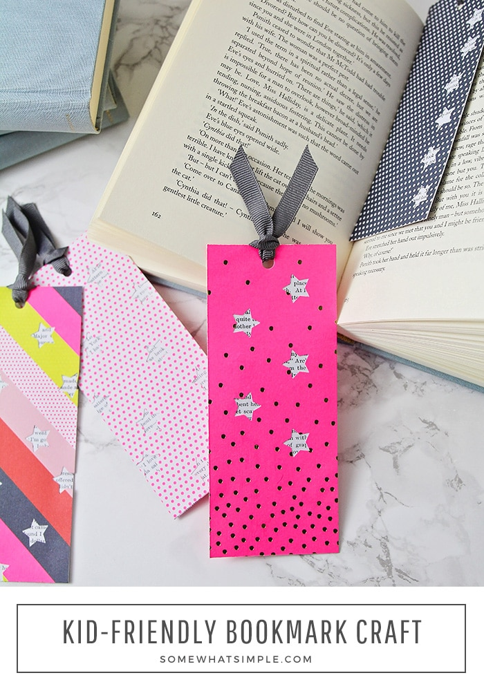 Grab the kids and some supplies you probably already have on-hand and make a few DIY bookmarks! #bookmarks #DIY #papercraft #kidscraft #easy #boredomebuster via @somewhatsimple
