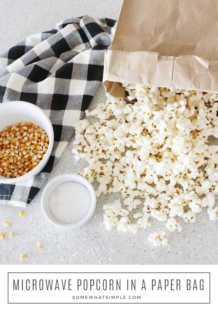 Paper Bag Popcorn is delicious, low-fat and made in the microwave using standard popping corn and a brown paper bag! #paperbagpopcorn #microwavepaperbagpopcorn #howtomakepopcorninabrownpaperbag #paperbagpopcornrecipe #howtomicrowavepopcornkernels via @somewhatsimple