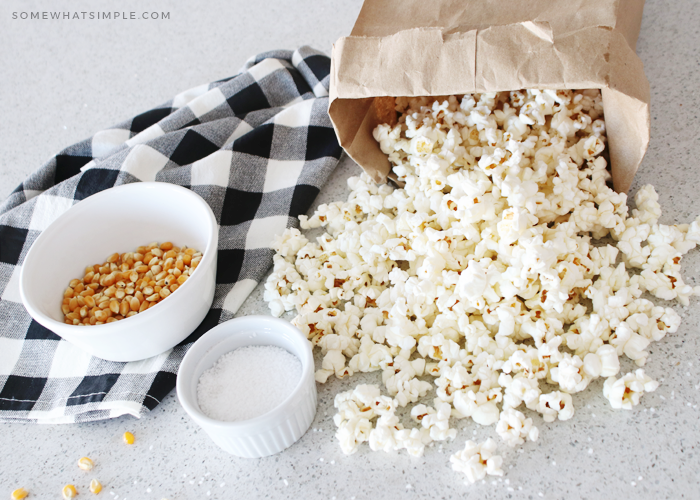 a paper bag filled with popcorn
