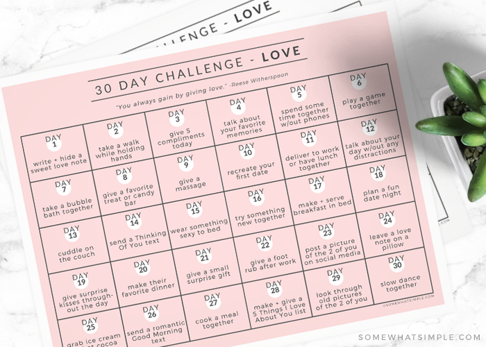 a 30 day love challenge printable