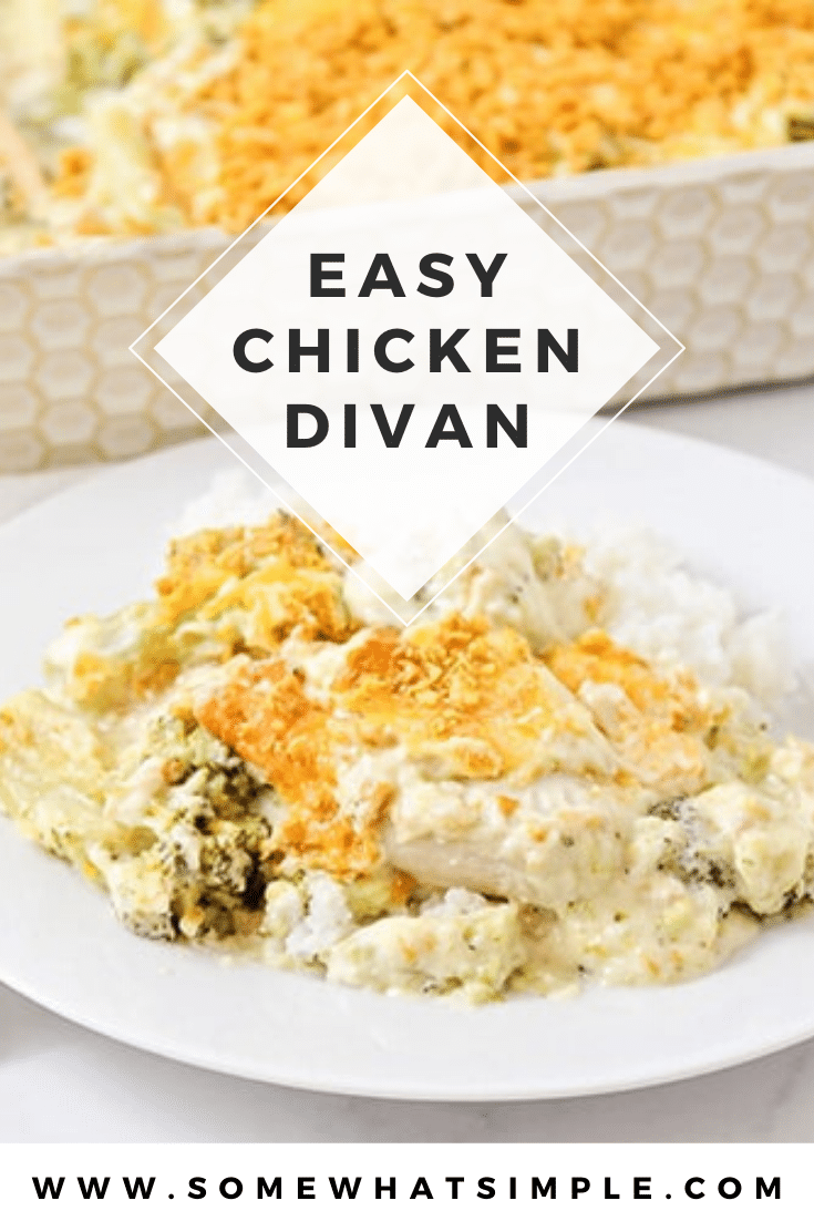 A family favorite dish in our home, this recipe for chicken divan is super simple to make and it tastes delicious!!! Made with chicken, fresh broccoli, a creamy sauce and a layer of cheese, this dinner recipe is super easy to make and tastes amazing! #chickendivanrecipe #easychickenrecipe #recipe #dinner #easydinneridea #chickendivan via @somewhatsimple
