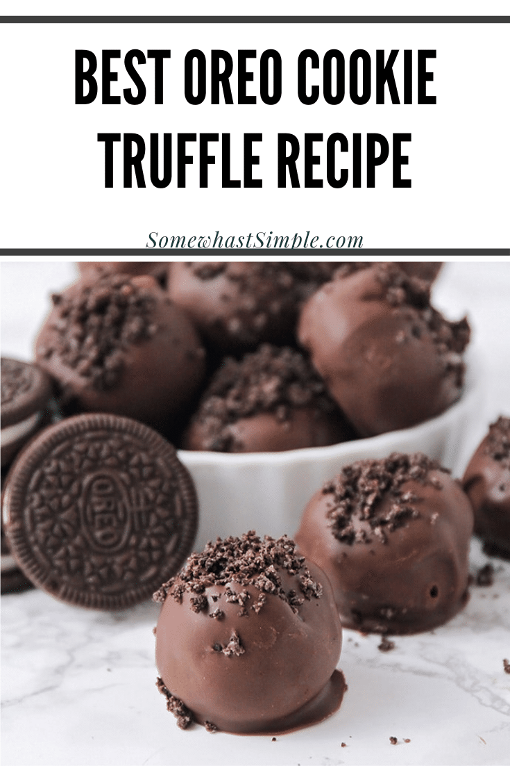 Oreo Cookie Truffles are an easy dessert that are made with the amazing combo of Oreo cookies and cream cheese. You only need 3 ingredients, so they're really easy to make and can be prepared in about 5 mins! These Oreo cookie balls are no bake and no fuss. I promise, you're going to love these! via @somewhatsimple