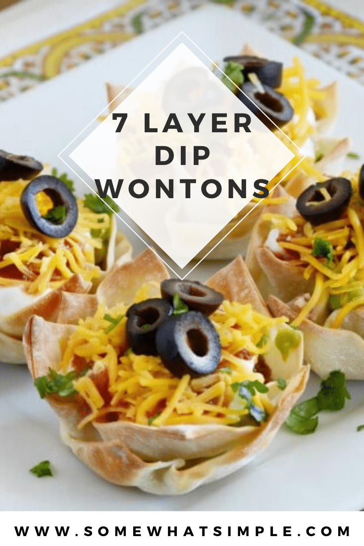 These seven layer dip cups are super simple to make and perfect as a side dish or appetizer. Made with delicious guacamole, beans, salsa and other delicious layers they are incredibly delicious! #minisevenlayerdipcups #7layerdipappetizer #easysevenlayerdip #7layerdipmexicancups #mexicanappetizer via @somewhatsimple