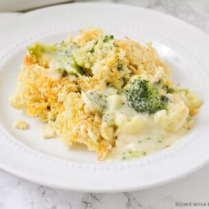 a serving of broccoli cheese casserole