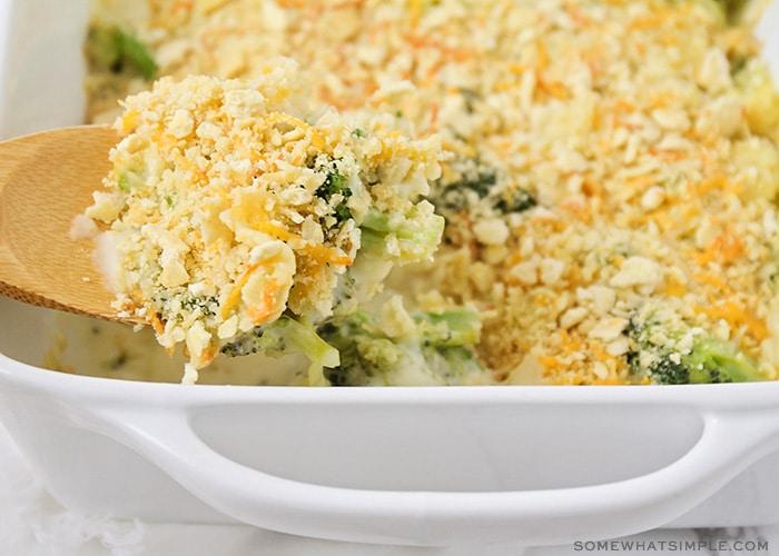 a freshly baked broccoli casserole