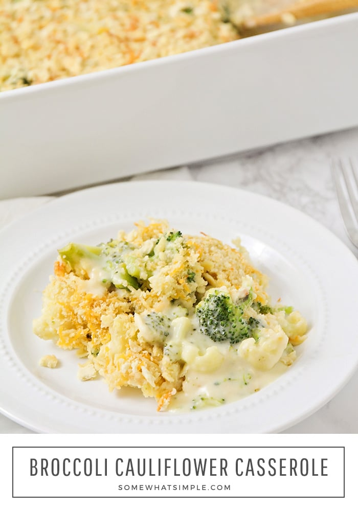 Broccoli Cheese Casserole is simple, quick and tastes amazing! It's a delicious side dish for any meal but is hearty enough to stand alone as an easy weeknight dinner!  Made with fresh broccoli and cheddar cheese, this casserole will quickly become one of your favorites!  #broccolicheesecasserole #broccolicheesecasserolerecipe #healthybroccolicheesecasserole #broccoliecheddarcasseroleritzcrackers #easybroccolicheesecasserole via @somewhatsimple