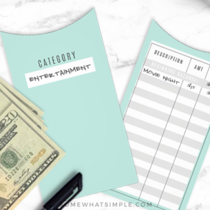 budget envelopes with a tracking sheet on the side