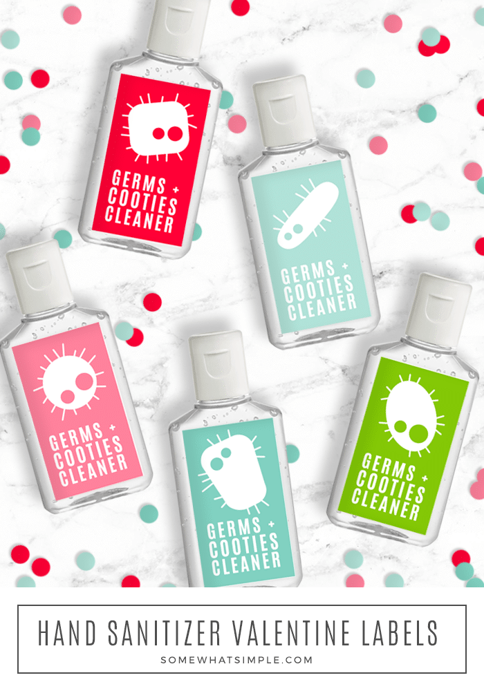 "Turn an ordinary bottle of hand sanitizer into a darling ""Cooties Cleaner"" that kids will LOVE! There's no better way to rid the germs from stinky boys and giggling girls! #valentinesdayprintable #cootiecleanerprintable #cootiecleanervalentinefreeprintable via @somewhatsimple"