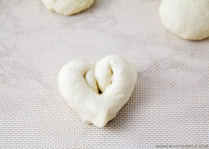 dough that has been formed into the shape of a heart