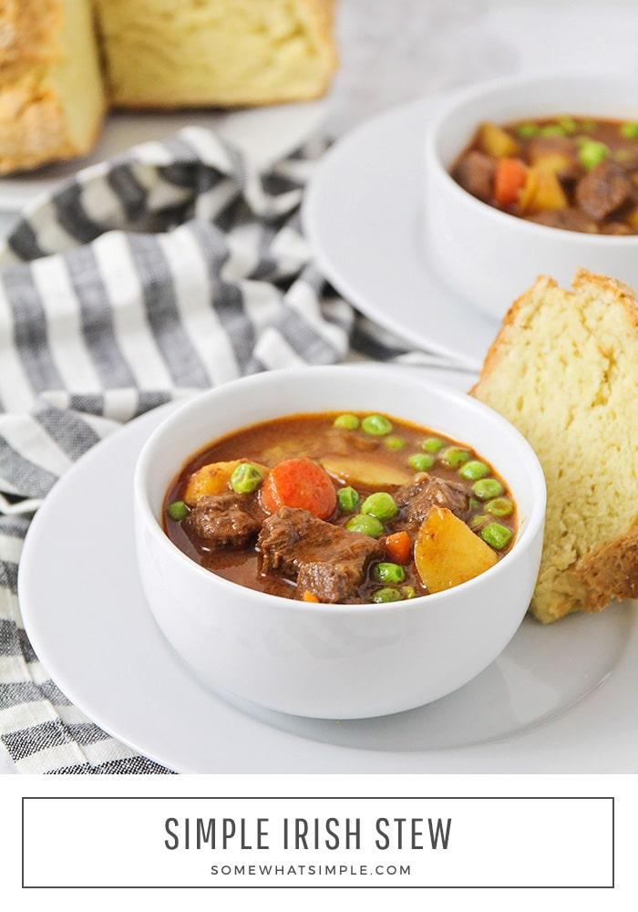This savory and flavorful Irish stew is loaded with tender beef and vegetables. It's thick and hearty, and perfect for a cold night! #IrishStew #stpatricksdayrecipe #traditionalirishstewrecipe #irishstewrecipe #irishbeefstew #irishstew via @somewhatsimple
