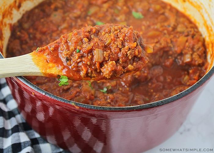 a pot of homemade spaghetti sauce