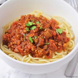 a pot of homemade meat sauce