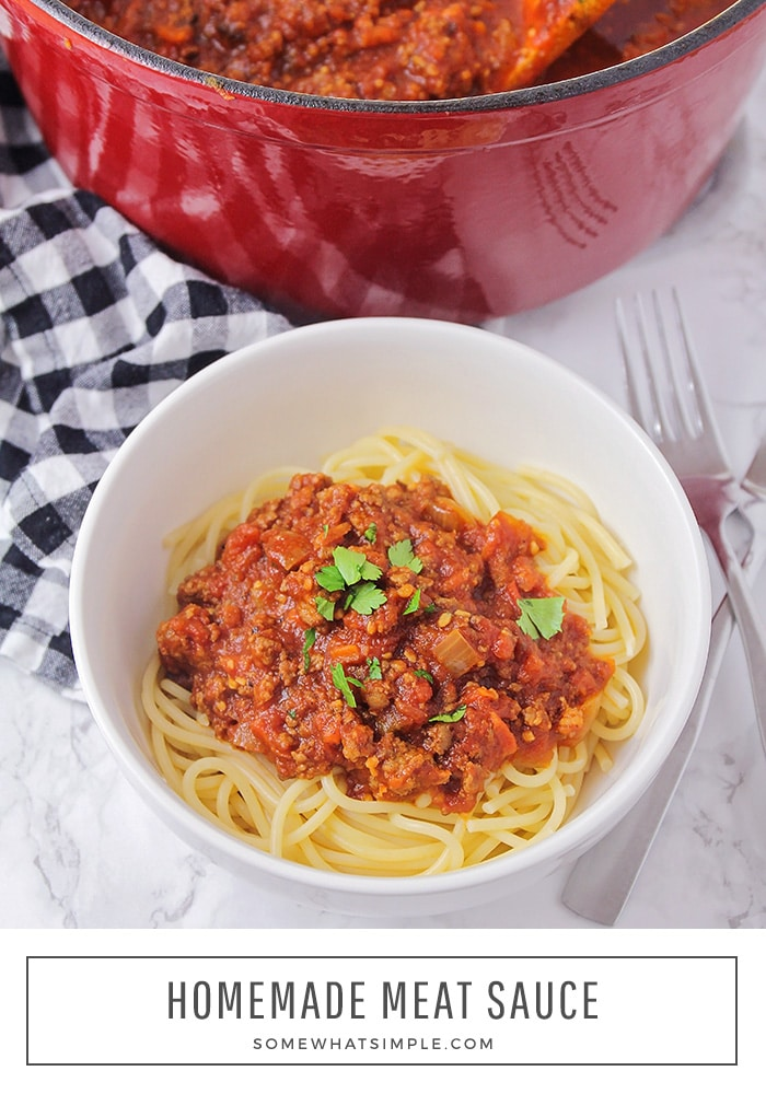 This simple homemade meat sauce is flavorful and savory. It's deliciously versatile and perfect for spaghetti, lasagna, or any pasta dish! #homemademeatsauce #besthomemadespaghettisauce #easymeatsaucerecipe #homemadepastasauce #howtomakemeatsauce via @somewhatsimple