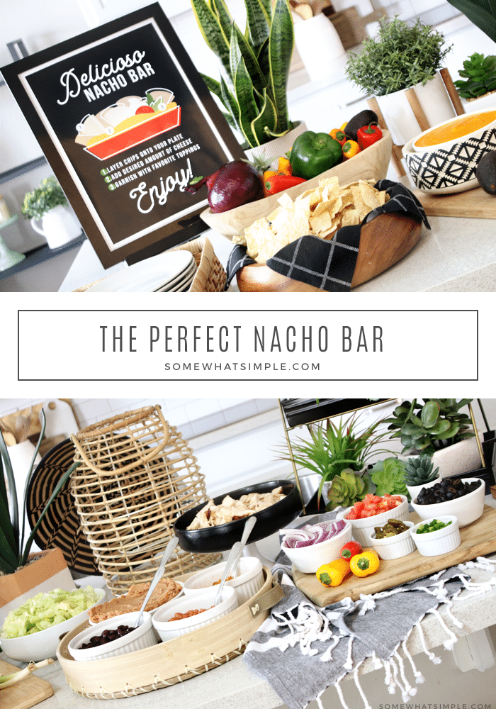 With delicious ingredients and a variety of toppings, making your own nacho bar is an easy meal that can feed (and please!) a crowd! Make it simple or go all out, either way, it will taste amazing!#nachos #nachobar #easymeal #easydinner #entertaining #partyfood via @somewhatsimple