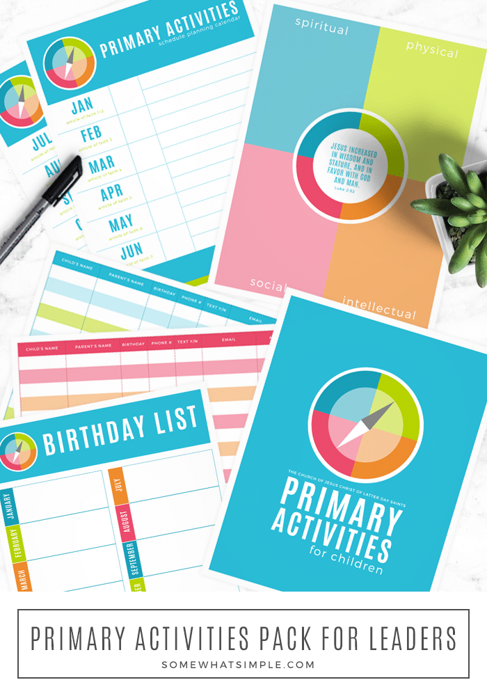 This Primary Activities Printable pack is the perfect companion for leaders to plan activities, help set goals, and keep track of important information. #ldsprimary #churchofjesuschristprimary #printableprimaryactivitysheets #newldsprimaryactivitiesprogram #ldsprimary2020 via @somewhatsimple