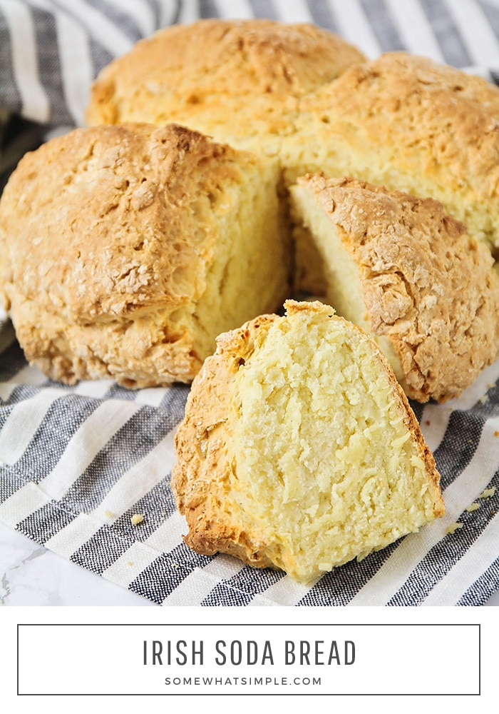 This simple and delicious Irish soda bread has just four ingredients and is so quick and easy to make.  You don't need any yeast for this recipe, so there's no waiting around! #irishsodabread #easybread #irishsodabreadrecipe #traditionalirishsodabread #traditionalirishsodabreadrecipe via @somewhatsimple