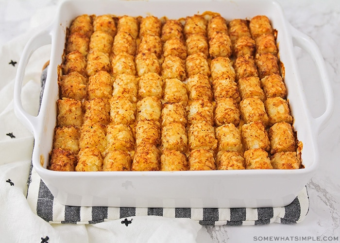 a freshly baked tater tot dinner casserole