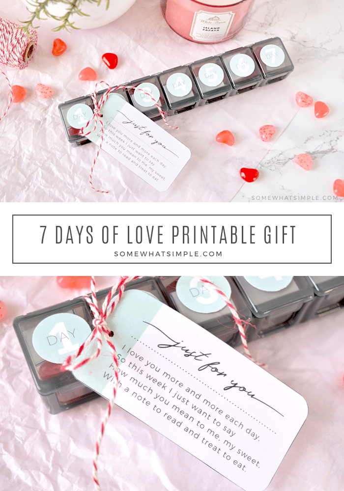 Surprise your special someone with seven cute love notes + small treats that you can have ready within minutes! Download this adorable free printable and create a week's worth of love notes for that special someone in your life.  #7daysoflovenotesideas #lovenotes #printable #sevendaysoflovefreeprintable #iloveyou  via @somewhatsimple
