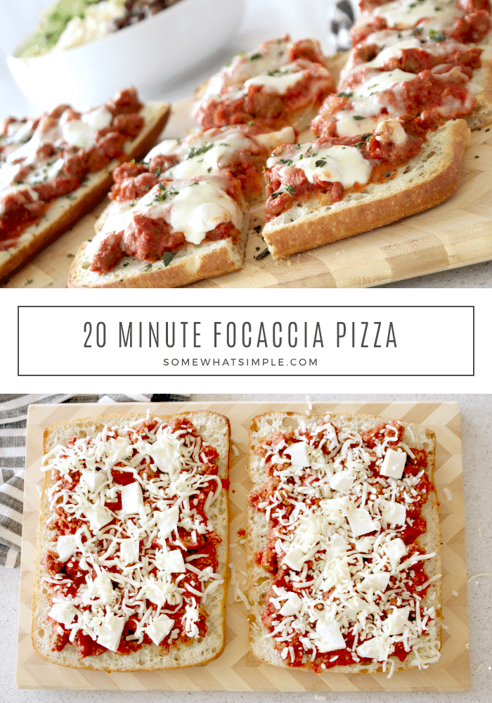 Focaccia Pizza is made with a deliciously soft bread topped with a hearty meat sauce and a duo of delicious cheeses! It's a twist on the classic pizza that tastes amazing and comes together in under 20 minutes! #homemadepizza #italiansausage #easydinner #focacciapizza #focacciapizzarecipe via @somewhatsimple