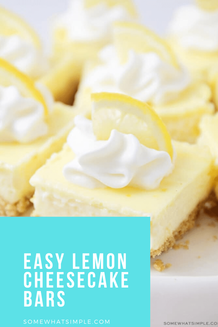 Perfectly light and sweet, these lemon cheesecake bars are great for a spring or summer dessert! Made with a graham cracker base and a delicious lemon cheesecake filling, these bars are simply irresistible. #lemoncheesecakebars #easylemoncheesecakebars #lemondessertrecipe #bestlemondessert #cheesecakebarrecipe via @somewhatsimple