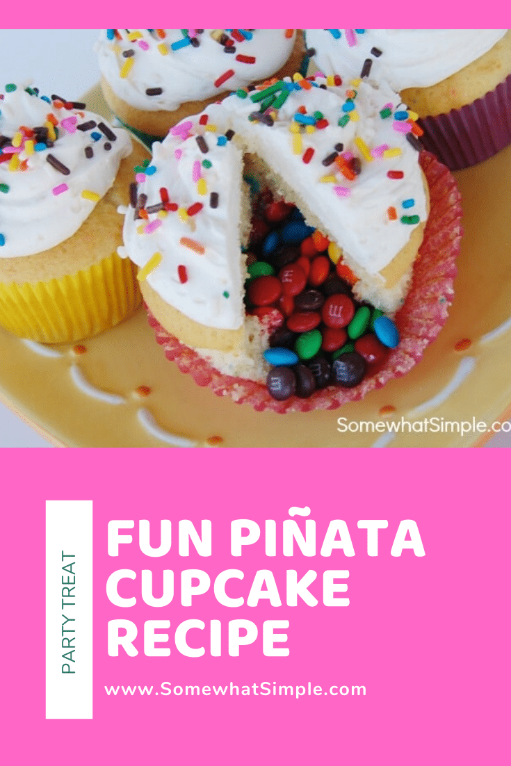 These Piñata Cupcakes are a fun dessert idea that your guests will love! They're easy to make and everyone will be talking about them. Filled with your favorite candy, these are guaranteed to be a huge hit! #dessert #cupcakes #dessertrecipe #pinatacupcakes #diypinatacupcakes #howtomakepinatacupcakes #cincodemayo via @somewhatsimple