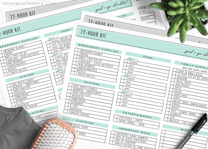 pages from a 72 hour kit printable list