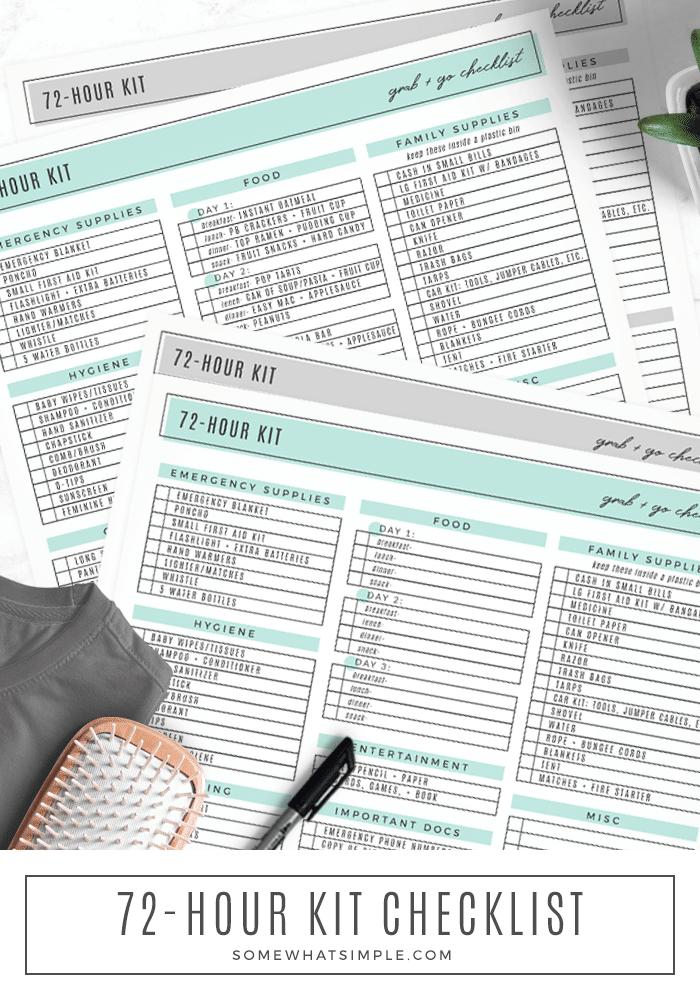 72 hour emergency kit list free printable