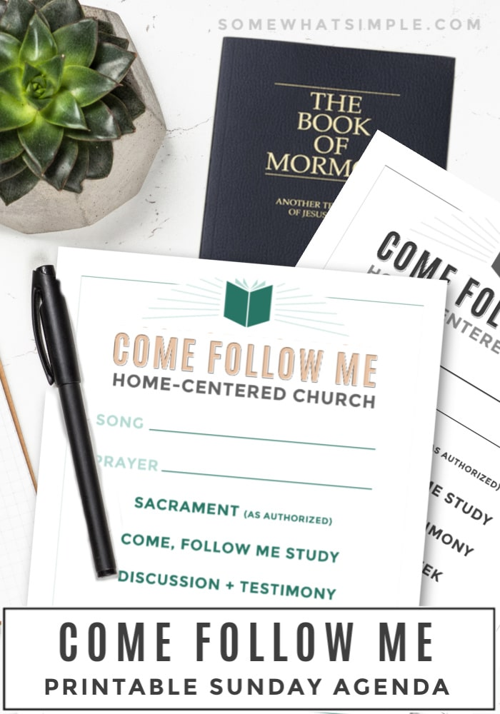 A Come Follow Me Printable Sunday Agenda will help you organize your home-centered, church-supported worship activities. #LDS #comefollowme #churchofjesuschrist #sunday #printable via @somewhatsimple