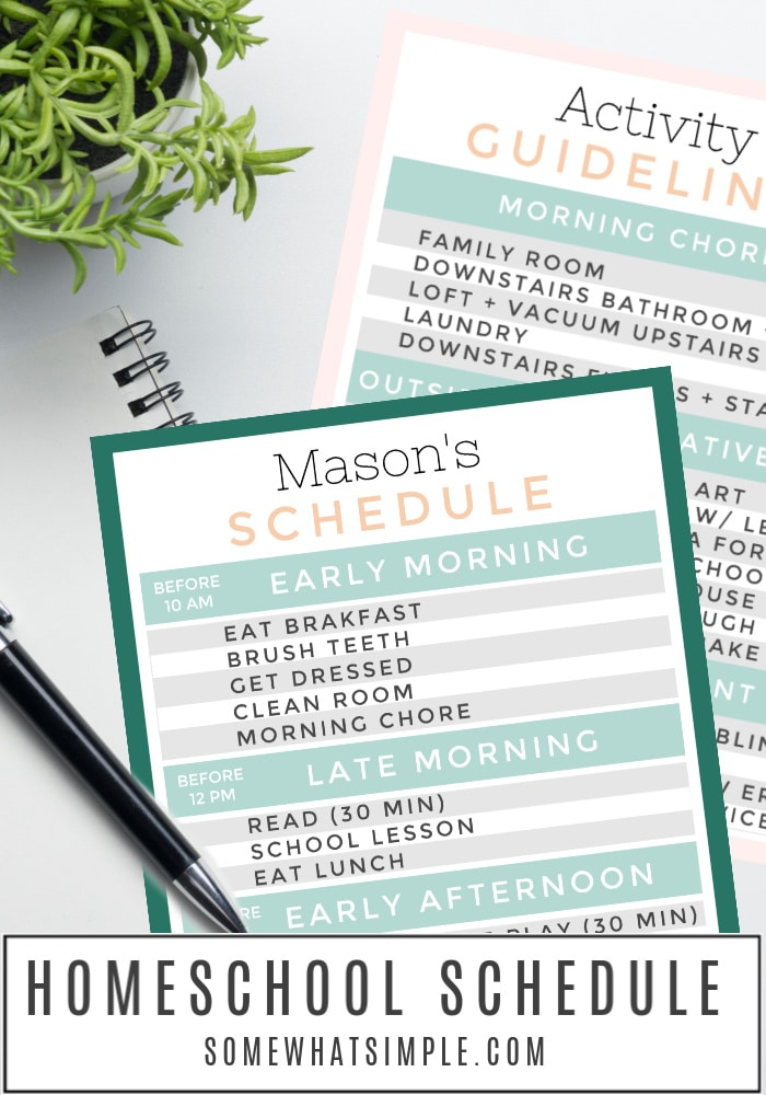 Add some structure and variety to your day with our free printable Homeschool Schedule. Download, print, and edit it to fit your family's routine. #homeschool #chedule #printable #chorechart #checklist via @somewhatsimple