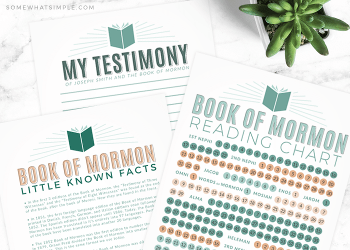 book of mormon reading chart and facts printables