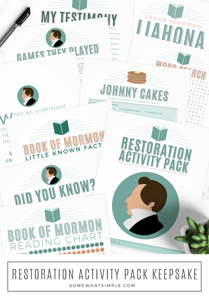 Our printable LDS Restoration Activity pack will help your family prepare for a memorable General Conference! This printable packet is FREE and comes with several activities that will help your family learn more about the Restoration. #generalconference #restoration #activity #kids #freeprintables #LDS #churchofjesuschrist #latterdaysaints via @somewhatsimple